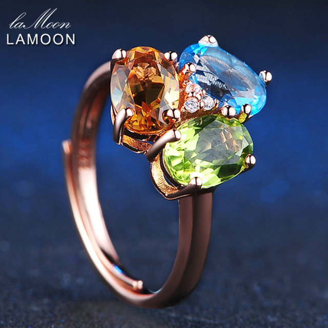LAMOON 3pcs 3ct Oval Yellow Citrine Green Peridot Blue Topaz 925 sterling-silver-jewelry  Wedding Ring S925 LMRI002