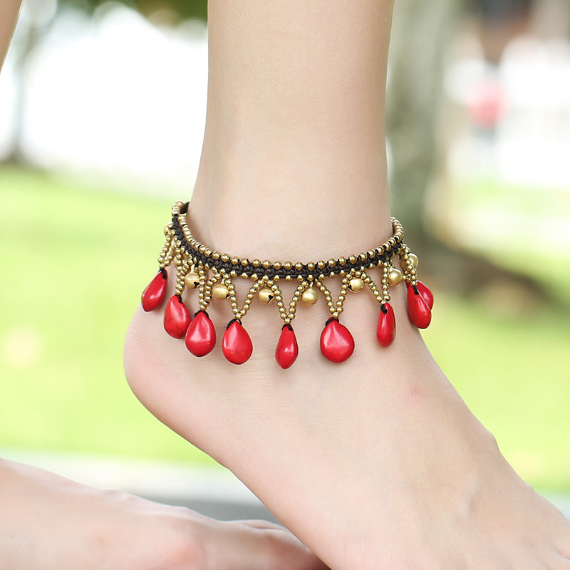 OMENG New ethnic Rhinestone weave sexy beach anklets women bohemian water droplets pendants holiday accessories wholesale JL094