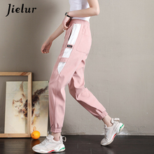 Jielur Pantalon Cargo Patchwork pour femmes, nouveau coréen, jambe étroite, noir, kaki, rose, Cool de loisirs, Harajuku, vêtement été 2020