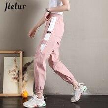 Jielur retalhos calças de carga 2019 verão novo coreano perna estreita preto caqui rosa calças das mulheres legal lazer harajuku pantalon mujer