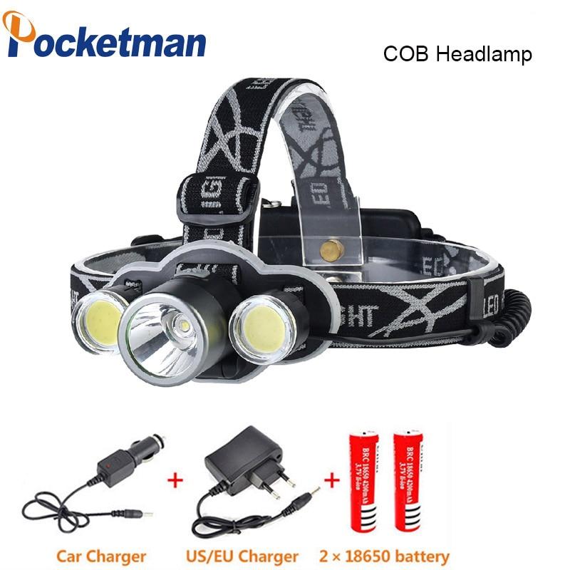 XML T6 2 COB Led Headlight Head Torch Headlamp 9000LM 5 Modes Head Flashlight for Hunting Fishing LED 18650 Head lamp