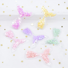 6Pcs 55*50mm Filling Sequins Appliques Mermaid Tail Patches for DIY Crafts Cake Topper Decor Headwear Hair Clips Accessories H23