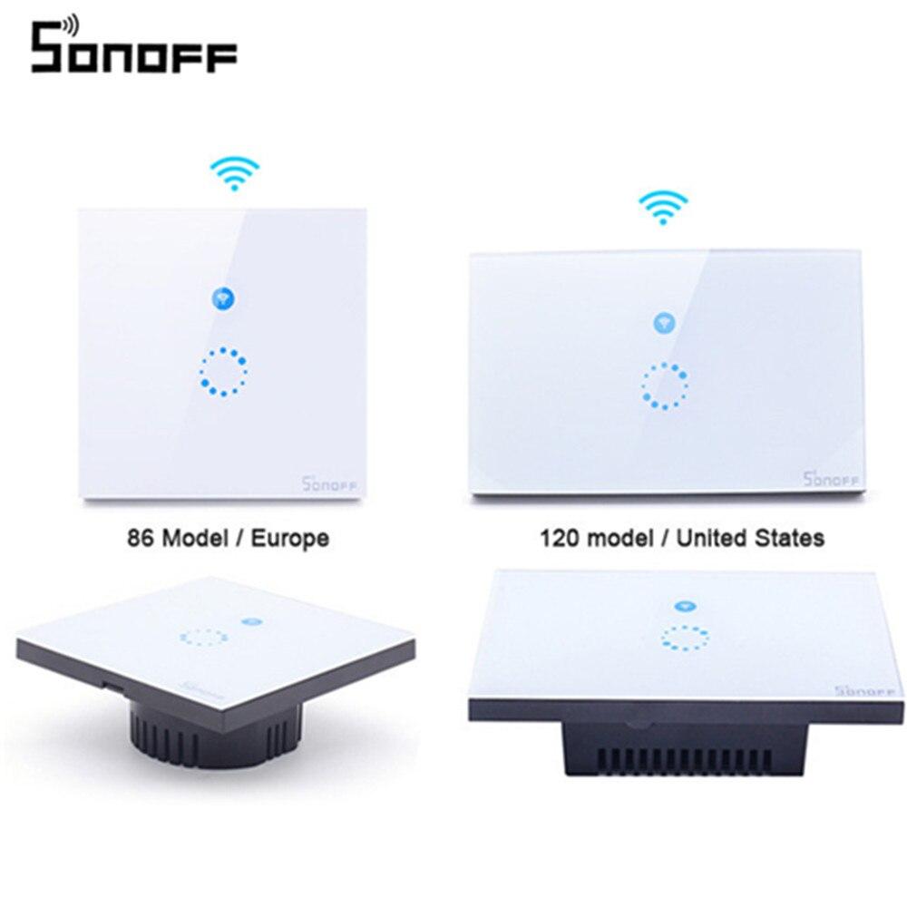 Sonoff Tactile Mur Wifi Lumière Commutateur US UE Intelligente Verre mur De Distribution sans fil Commutateur Télécommande Via APP Pour La Maison Intelligente 26