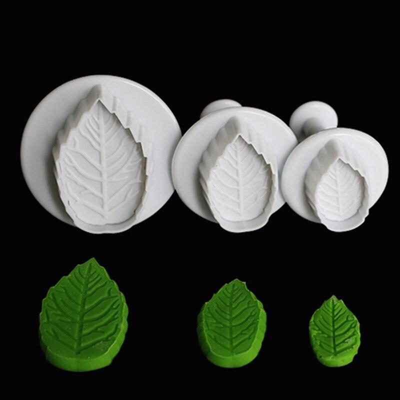 Baking Tools 3 pcs rose leaf Accessary Fondant Cutter Embosser Tool Set Mold