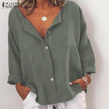 2019 ZANZEA Womens Blouse Sexy V-Neck Tops Work OL Shirt Cotton Linen Tunic Blusas Buttons Down Casual Chemiser Mujer Plus Size