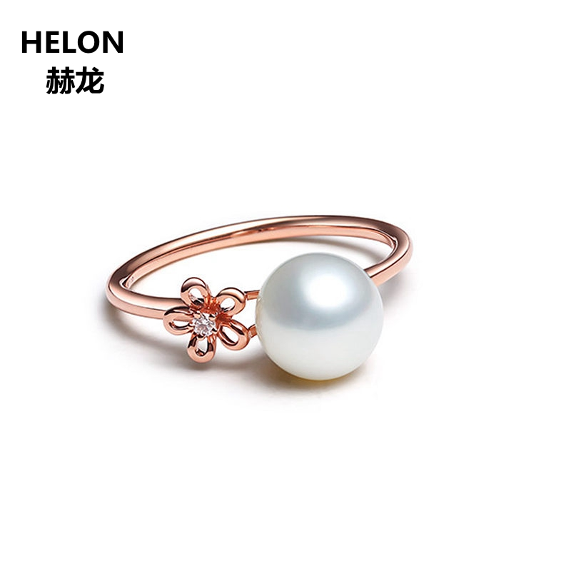 Solid 14k Rose Gold Natural Diamonds Engagement Wedding Ring for Women Freshwater Pearl Party Anniversary Fine Jewelry 3