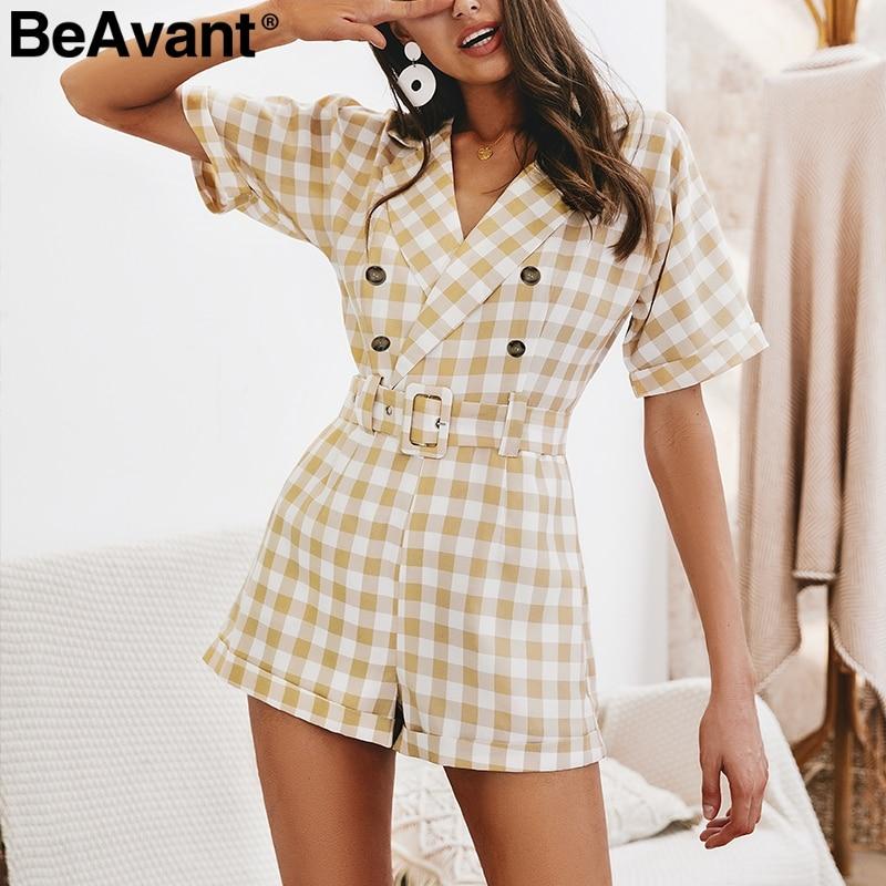 BeAvant V-neck plaid women   jumpsuit   short overalls Office ladies summer   jumpsuits   rompers High waist belt casual playsuit 2019
