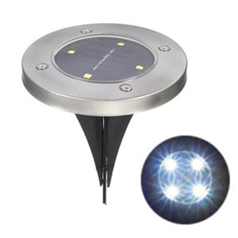 Waterproof 4 LED Garden Solar Powered Ground Lights Outdoor Lawn Yard Stair Lights for Home Decoration Warm White/White