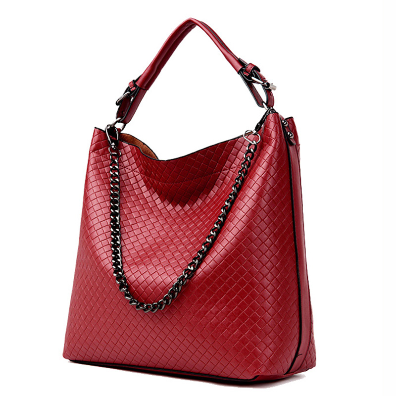 Casual Bags For Ladies Big Shoulder Bags For Women 2017 Famous Designer Brand Bags Women Leather Handbags Fashion Chain Bag Red