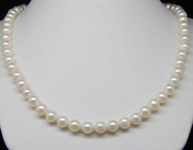 """Acessório charme choker brilhou> belas aaa + 6-7mm branco akoya pérola colares 16 """"= 40 cm com venda"""