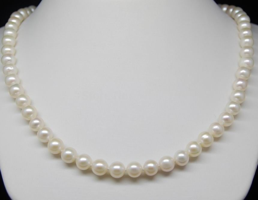 sterling silver cherry necklace > Fine AAA+ 6 7mm White Akoya pearl necklaces 16=40CM With Selling