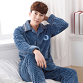 Men's Pajamas Autumn Winter Long Sleeve Sleepwear Coral Fleece Cardigan Pyjamas Men Lounge Pajama Sets Plus size L-3XL Sleep