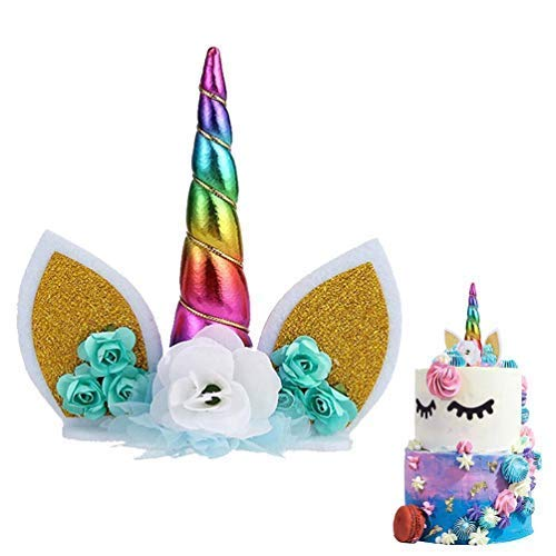 METABLE 1SET Unicorn Cake Topper Handmade Flowers Horn Ears Happy Birthday DIY Glitter Cupcake Candle Party