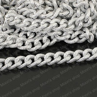 25507 Metal Jewelry Link Necklace Chains Aluminum Silver Width 14MM Embossed Extended Chain 1 Meter