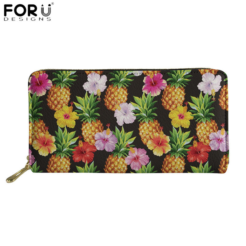 FORUDESIGNS Casual Party Clutch Wallets Women Pineapple Hibiscus Print 3D PU Leather Purses Long Card Holder Bag For Lady Travel