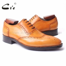 cie Square Toe Cut outs Brogues Oxford Lace up Hand painted Brown Goodyear welted craft 100