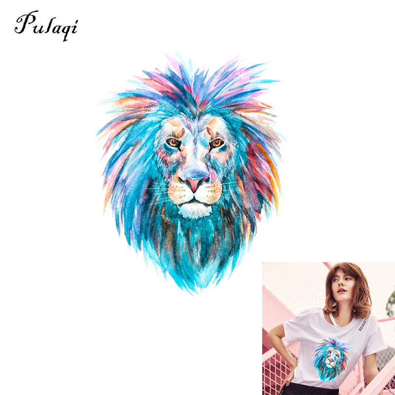 Pulaqi New Lions Heat Transfers Patches Iron On Patch For Clothing A-level Washable Stickers Christmas Gift For Girls Boys B