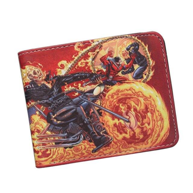 Marvel hero Ghost Rider Movie Boys Wallet Cartoon Student short game wallet  Anime credit cards holder