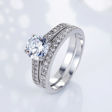 Huitan Classic Wedding Ring Traditional Engagement With Shiny Brilliant Crystal Stone Silver Plated Bridal For Women
