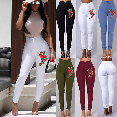Fashion Women High Waist Skinny Stretch Pencil Pants Long Slim Trousers Embroidery Floral