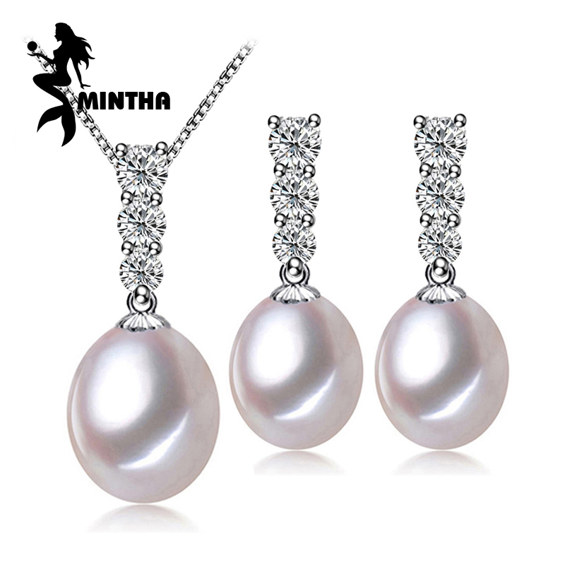 MINTHA 925 Sterling Silve natural Pearl font b jewelry b font sets for women classic accessories