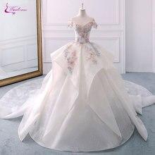 Waulizane בציר תחרה Scallope כדור שמלת חתונת שמלות ואגלי רקמת אפליקציות כבוי כתף הכלה שמלת אישית