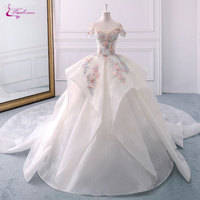 Waulizane Vintage Lace Scallope Ball Gown Wedding Dresses Beading Embroidery Appliques Off The Shoulder Bridal Dress Customize