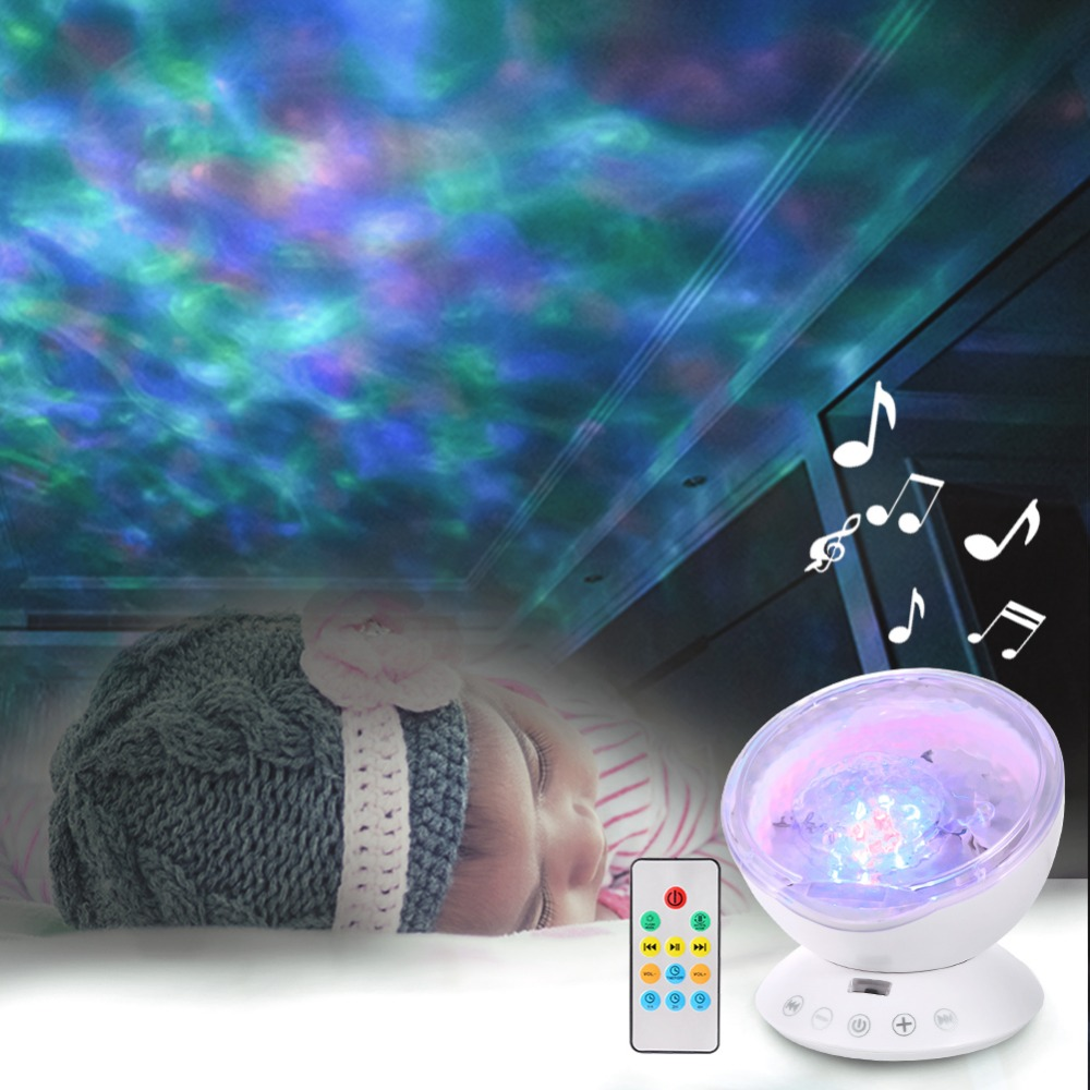 LED Ocean Wave Projector Night Light Built In Music Player 7 Colors Change Star Luminaria For Kid Bedroom Ocean Projector Lamp