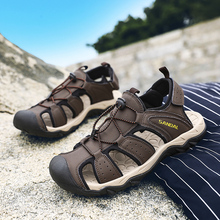 2019 New Male Shoes Genuine Leather Men Sandals Summer Men Shoes Beach Sandals Man Fashion Outdoor Casual Sneakers Size 39 46 цена в Москве и Питере