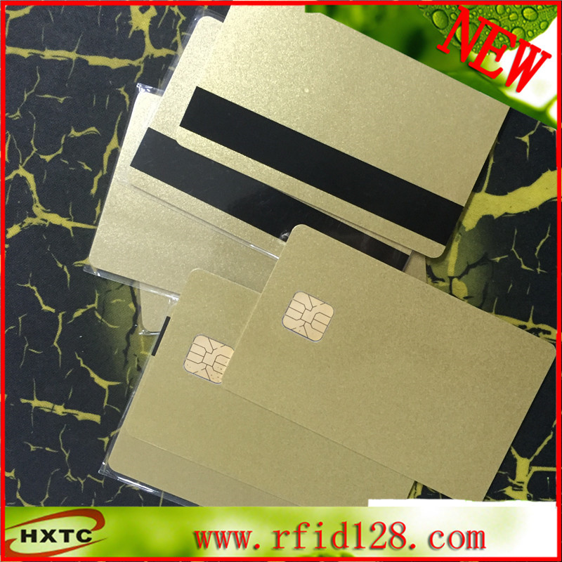 200PCS/Lot ISO7816 PVC Contact Blank Smart IC SLE4428 Chip gold Card With 1K Memory For ACR38 reader writer 20pcs lot contact sle4428 chip gold card with magnetic stripe pvc blank smart card purchase card 1k memory free shipping