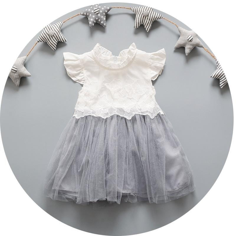 Summer Kids Clotehs Infant Girls Short Sleeve Lace Princess Party Mesh Tutu Ball Gown Baby Dress