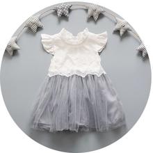 Summer Kids Clotehs Infant Girls Short Sleeve Lace Princess Party Mesh Tutu Ball Gown Baby Dress vestidos roupas de bebe
