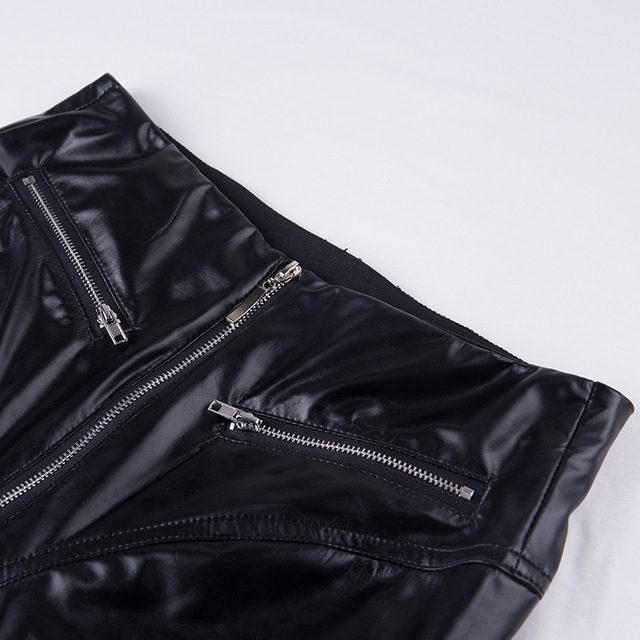 High Waist Gothic Black PU Leather Legging 10