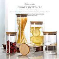 Sealed Transparent Glass Storage Bottle Wood Cover Dried Grains Wood Tank Kitchen Storage Tank and Cans of Beans Pickled Cabbage