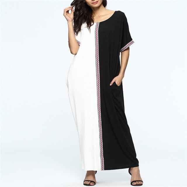 4e4ad831432 Женское платье мусульманское платье Ближнего Востока черно-белые платья  Черно-белые платья Модная классическая