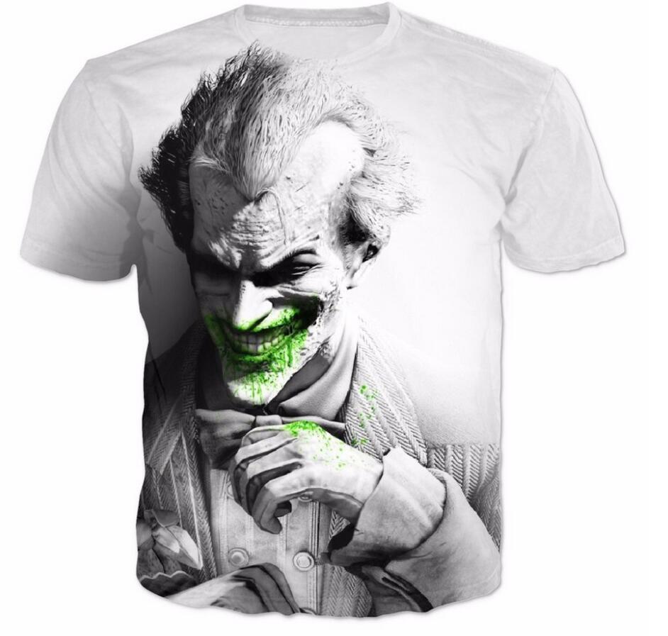 Cloudstyl Nova Promoção de Verão T-Shirt Branca Projetado Homens Coringa Batman 3D T shirt Legal Homem Moda Roupas Tees Casual Tamanho 5XL