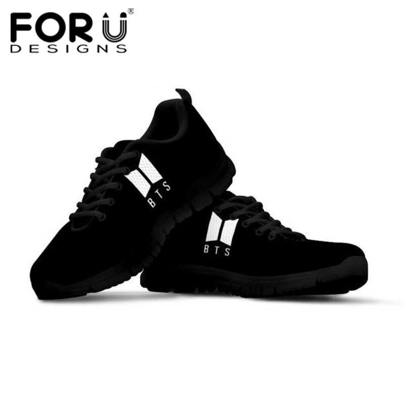3c428c31 FORUDESIGNS/модные Kpop BTS кроссовки для девочек крутая сетчатая обувь на  плоской подошве классические Bangtan