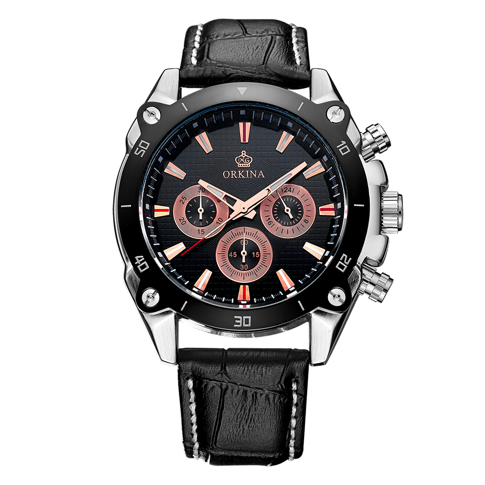 где купить  ORKINA Male Reloj Japan Quartz Movement MIYOTA JS20 Chronograph Function Analog Men Sport Watch Leather Band Relogio Masculino  по лучшей цене