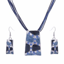MINHIN Blue Geometry Shape Pendant Necklace Earring Sets Multi Ropes Choker Necklace Classic Wedding Costume Jewelry Set