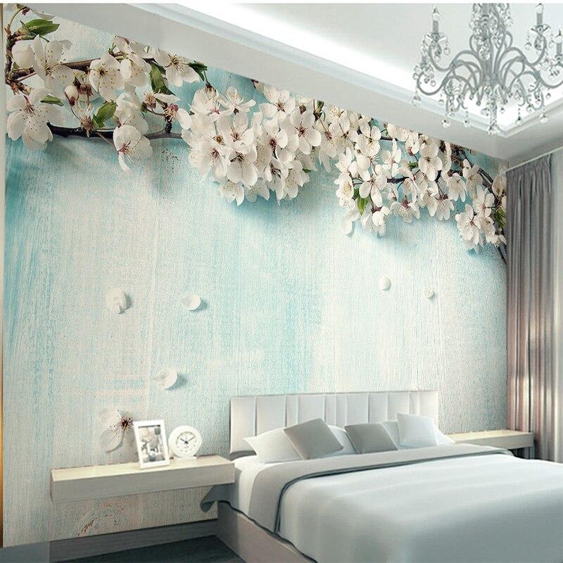 Custom Photo Wallpaper 3D Fresh Blue Wood Cherry Blossom Living Room Bedroom Background Environmental Protection Wallpaper Mural