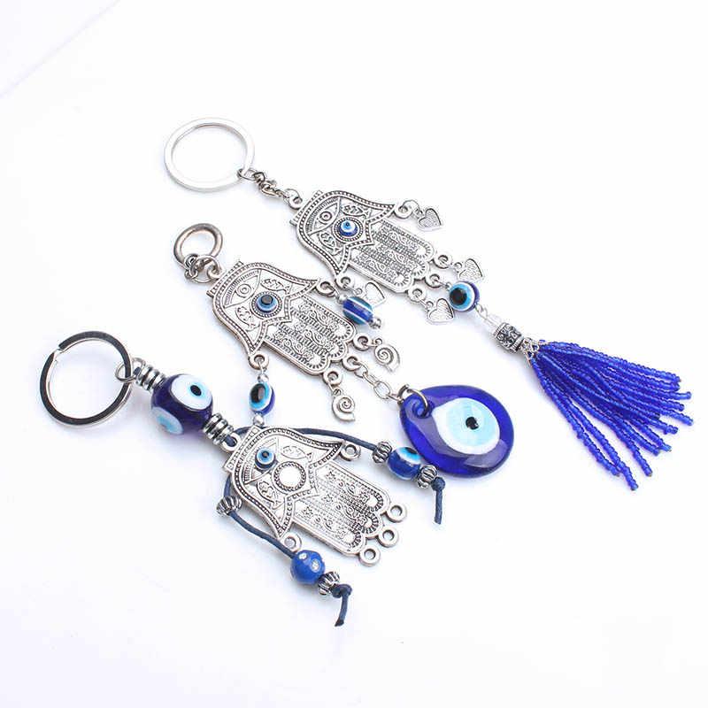 ตุรกี Evil Eye Hamsa พวงกุญแจ Evil Eye Beads Hamsa จี้สำหรับผู้หญิงแฟชั่นผู้ชายเครื่องประดับของขวัญ