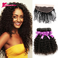 Indian Virgin Hair with Closure 7A Afro Kinky Curly Hair Human Hair with Closure Indian Curly Lace Frontal Closure with Bundles