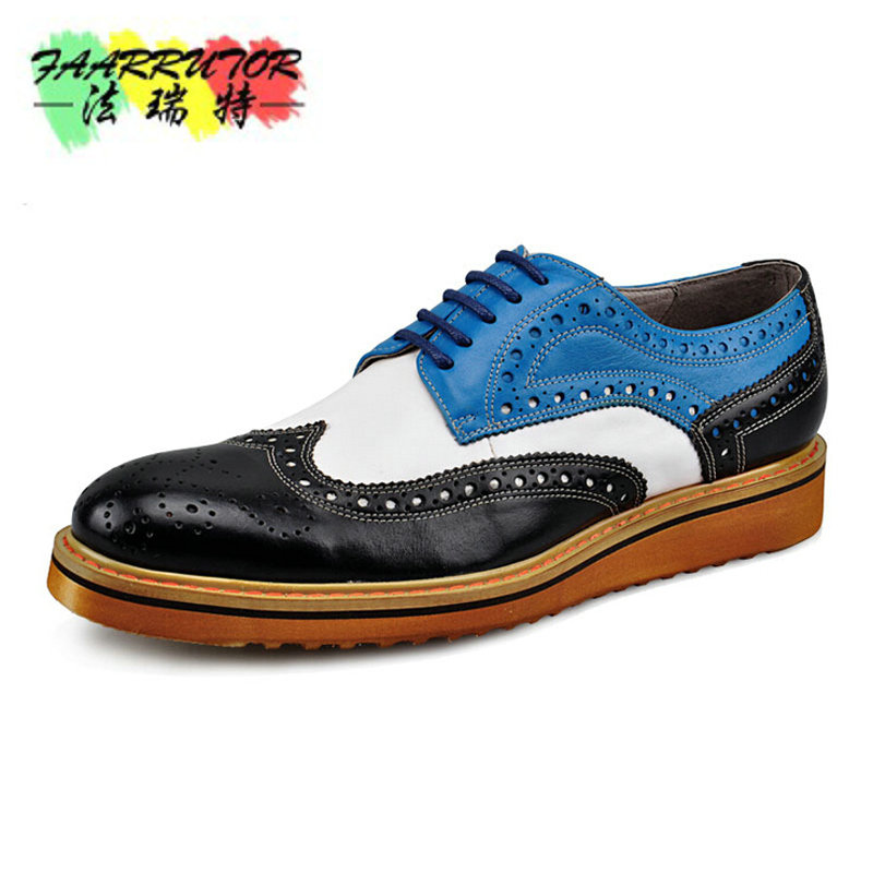 Branded Design Men's Casual Patent Full Grain Leather Oxfords Shoes Lace-Up Full Brogues Shoes Pointed Toe Fashion Mixed Color xiuningyan soft leather women shoes brogues lace up flat pointed toe patent leather white oxfords women casual shoes for women