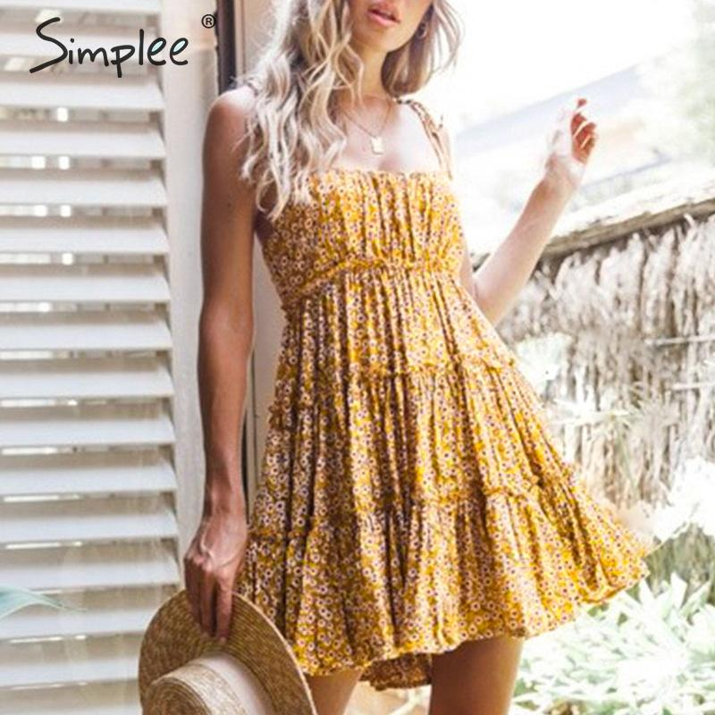 CUERLY Sexy floral print short dress women Summer buttons plus size short female beach dress Holiday female elegant vestidos in Dresses from Women 39 s Clothing