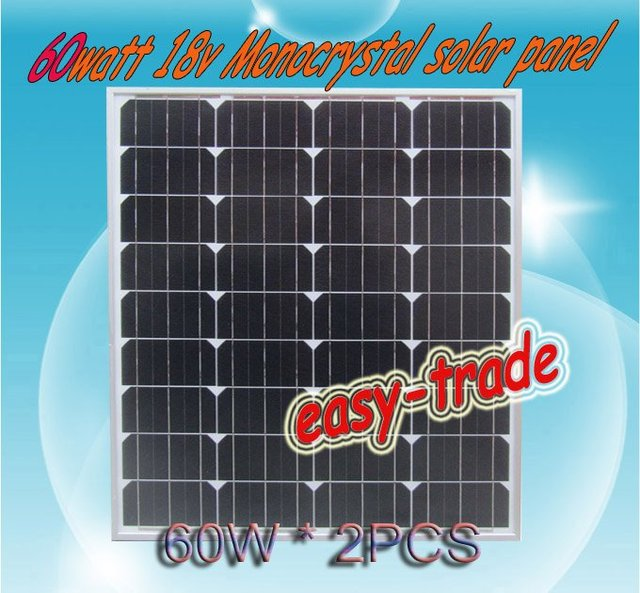 120w(2*60w) 18V Solar Panel Module Charger 12V Battery-low price, free shipping, high efficiency, 2pieces/a lot
