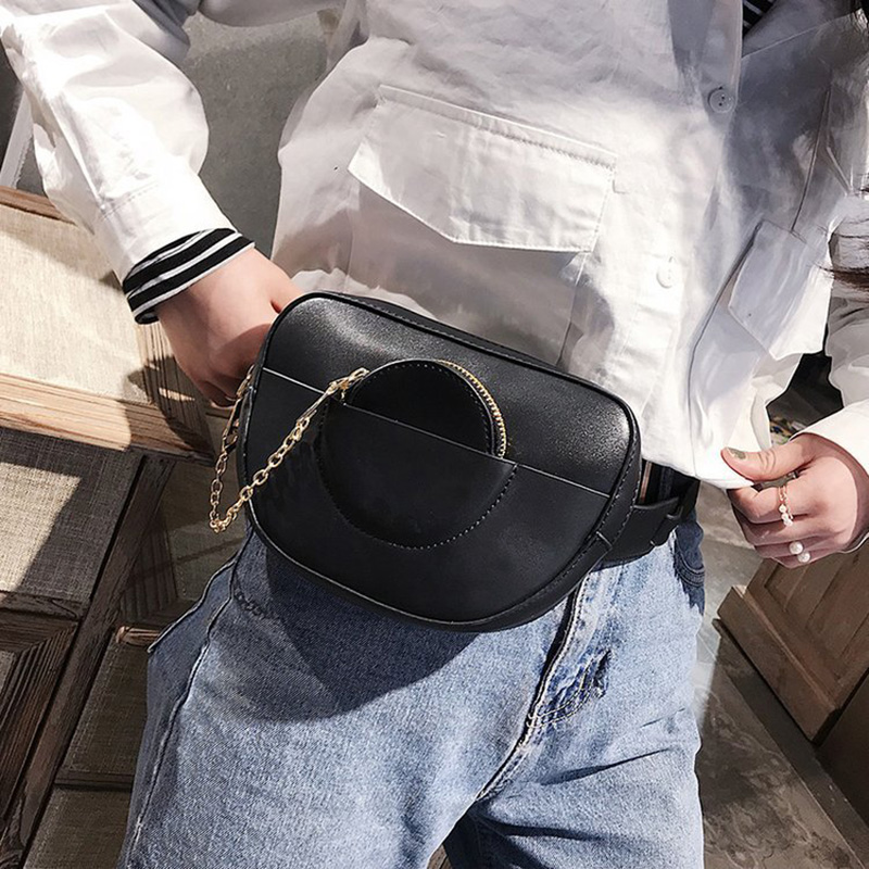 2018 New Casual Solid Travel Belt Bag Women Waist Bag PU Leather Shoulder Bags Cool Lady Fanny Pack Hot Sale bolsa feminina S425
