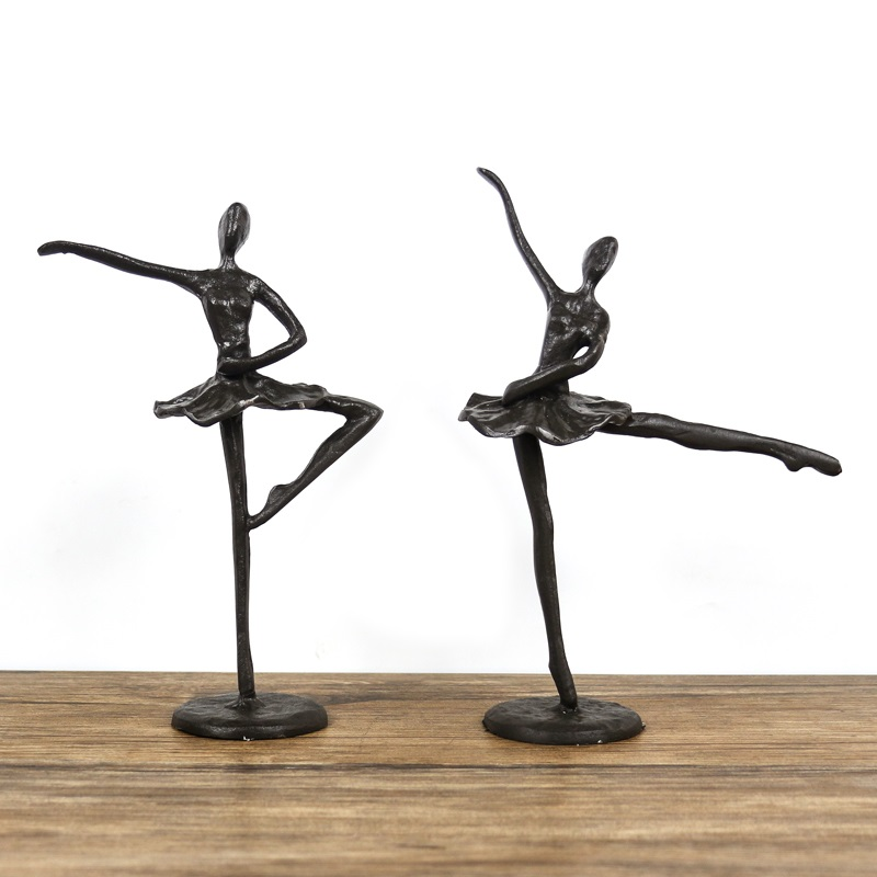 Figure Ballet Statue Dance Iron Art&Craft Home Decorations Purely Manual Art Crafts Living Room L3042