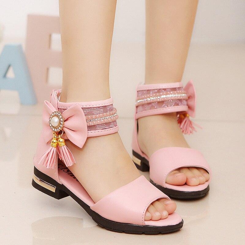 2019 Kids Girls Summer Shoe Little Girls Sandals Big Children Bowtie Tassel Princess Beach Sandals 4 5 6 7 8 9 10 11 12 Year Ol