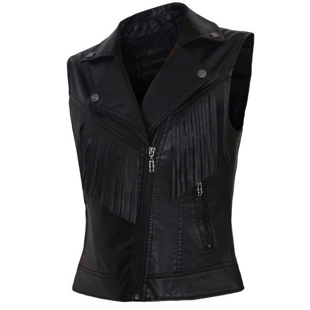 Colete de couro do falso das mulheres casacos sem manga senhoras colete preto completo forrado curto borla SML slim fit feminino novos coletes 2016 hot