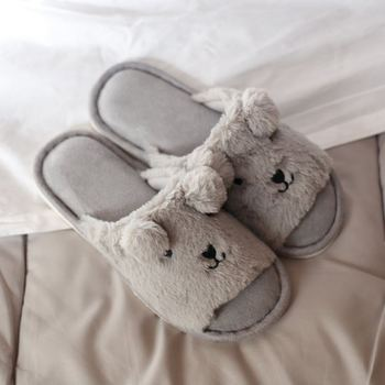 女性冬暖かい Ful スリッパ女性スリッパ動物クマ愛好家のスリッパ屋内家の靴 2019 女性